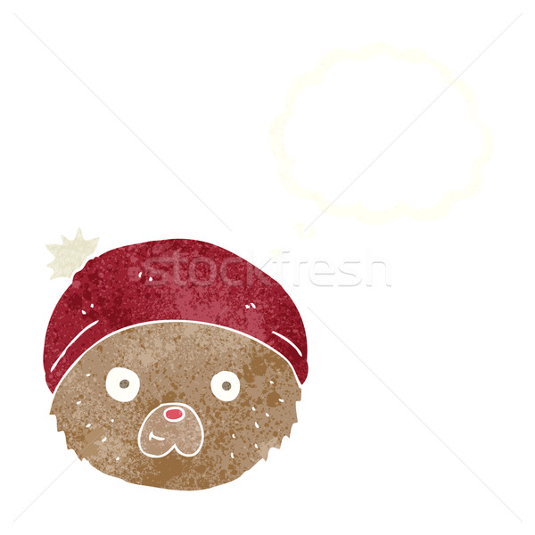 Desenho animado ursinho de pelúcia cara balão de pensamento mão projeto Foto stock © lineartestpilot
