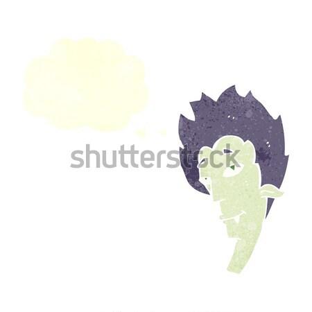 Cartoon vampiro cabeza burbuja de pensamiento mano diseno Foto stock © lineartestpilot