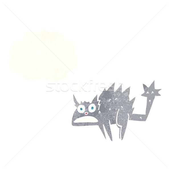 Cartoon bange gedachte bel hand kat Stockfoto © lineartestpilot