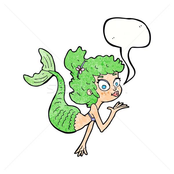 Karikatür güzel deniz kızı konuşma balonu el dizayn Stok fotoğraf © lineartestpilot
