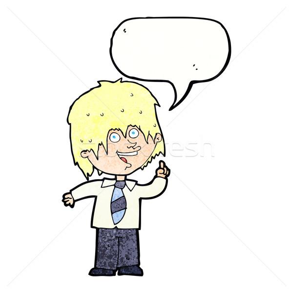 Rajz iskolás fiú ötlet szövegbuborék kéz férfi Stock fotó © lineartestpilot