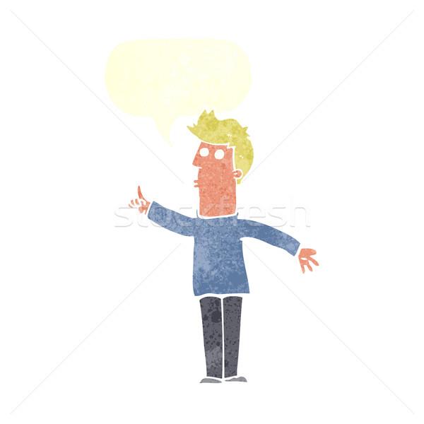 Cartoon man voorzichtigheid tekstballon hand ontwerp Stockfoto © lineartestpilot