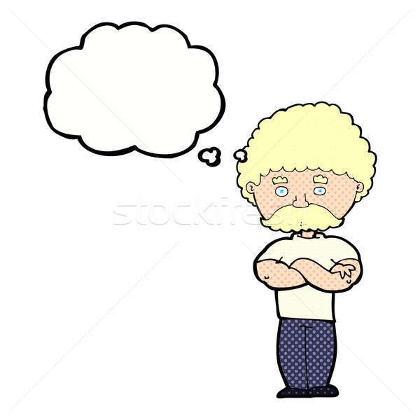 Cartoon papà piegato braccia bolla di pensiero mano Foto d'archivio © lineartestpilot