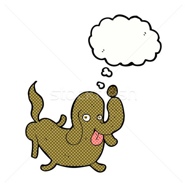 Desenho animado cão fora língua balão de pensamento mão Foto stock © lineartestpilot