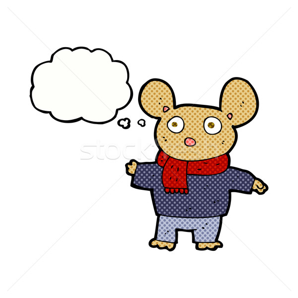 cartoon mouse in clothes with thought bubble Stock photo © lineartestpilot