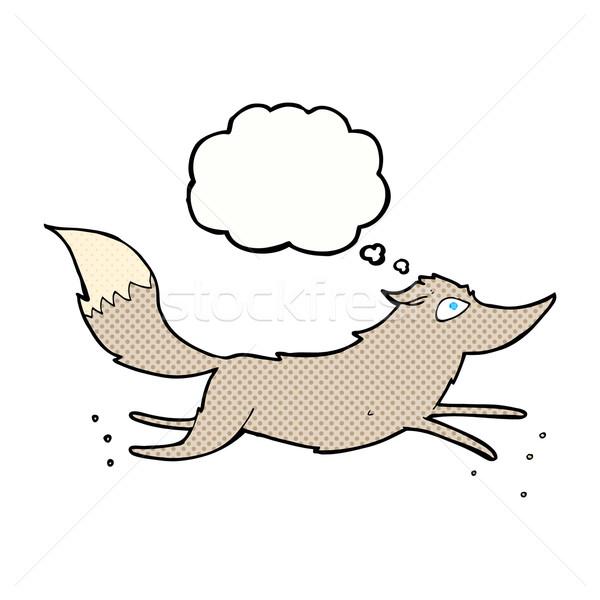 Cartoon волка работает мысли пузырь стороны дизайна Сток-фото © lineartestpilot