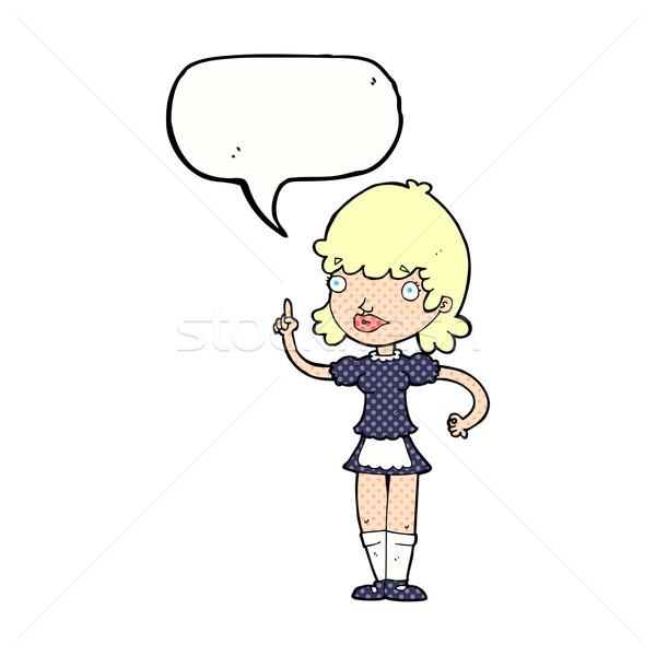 Cartoon soubrette bulle main design fou Photo stock © lineartestpilot