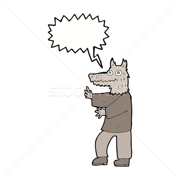Karikatür komik kurt adam konuşma balonu el adam Stok fotoğraf © lineartestpilot