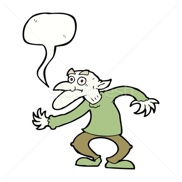 cartoon goblin with speech bubble Stock photo © lineartestpilot
