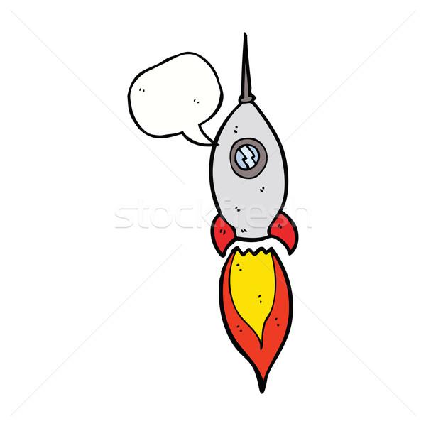 Cartoon statek kosmiczny dymka strony projektu przestrzeni Zdjęcia stock © lineartestpilot