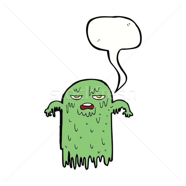 Cartoon слизистый Ghost речи пузырь стороны дизайна Сток-фото © lineartestpilot