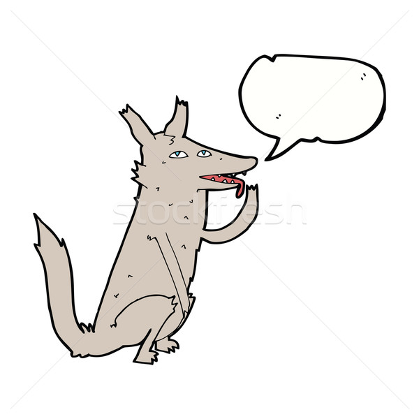 cartoon wolf licking paw with speech bubble Stock photo © lineartestpilot