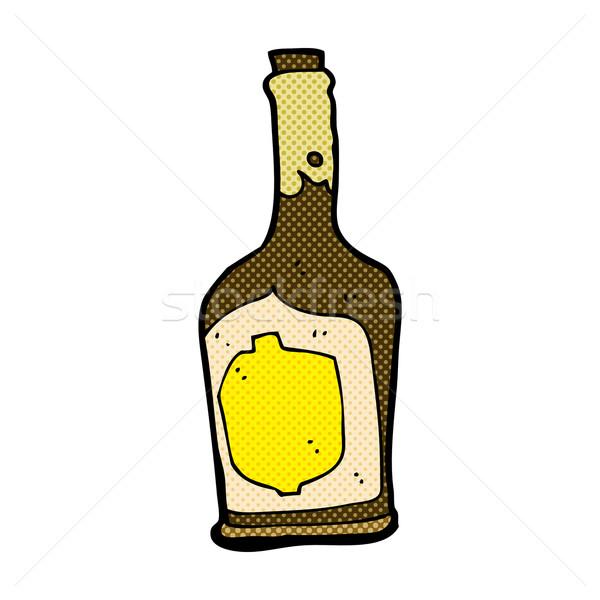Fumetto cartoon bottiglia rum retro Foto d'archivio © lineartestpilot