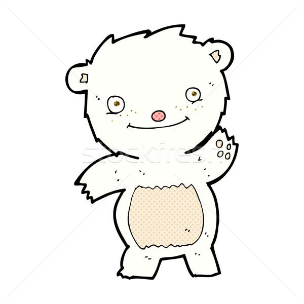 comic cartoon waving polar bear cub Stock photo © lineartestpilot