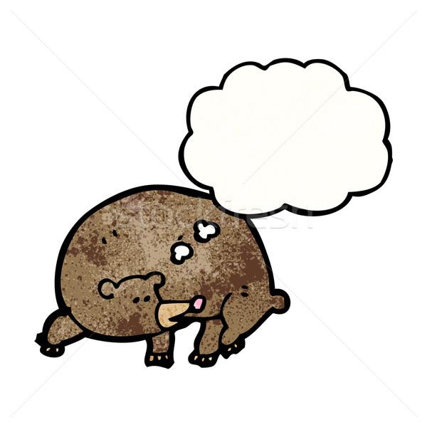 Stok fotoğraf: Karikatür · ayı · düşünce · balonu · konuşma · Retro · düşünme