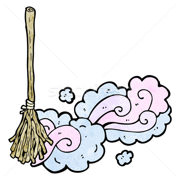 cartoon magic broom sweeping Stock photo © lineartestpilot