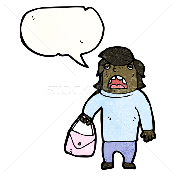 cartoon embarrassed man holding purse Stock photo © lineartestpilot