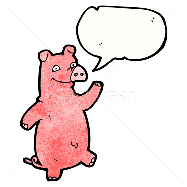 cartoon pig with speech bubble Stock photo © lineartestpilot