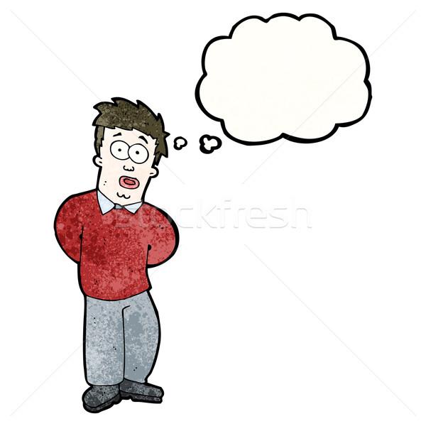 Curioso hombre Cartoon arte retro pensando Foto stock © lineartestpilot