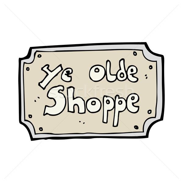 Desenho animado velho falsificação compras assinar mão Foto stock © lineartestpilot