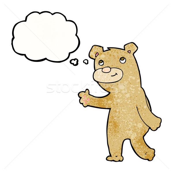 cartoon happy waving bear with thought bubble Stock photo © lineartestpilot