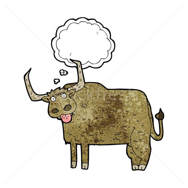 Karikatur haarig Kuh Gedankenblase Hand Design Stock foto © lineartestpilot