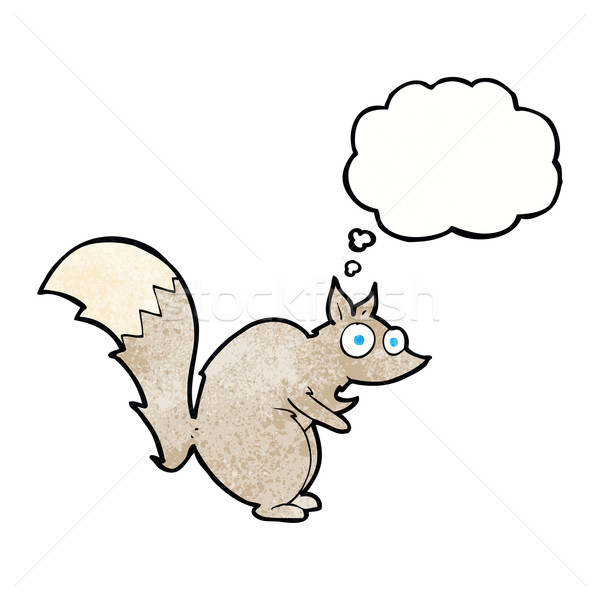 funny startled squirrel cartoon with thought bubble Stock photo © lineartestpilot