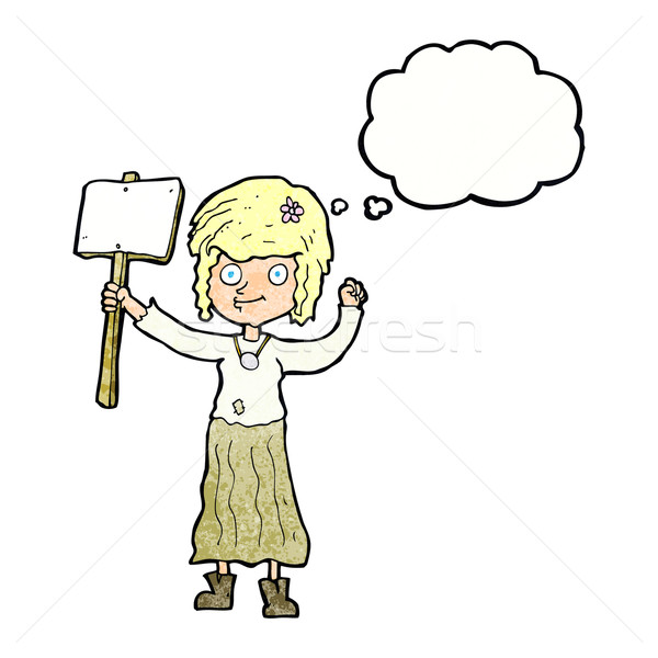 cartoon hippie girl with protest sign with thought bubble Stock photo © lineartestpilot