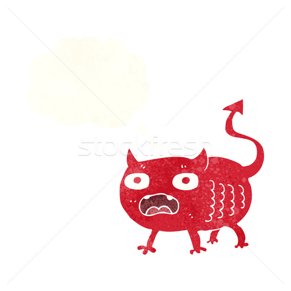 cartoon little imp with thought bubble Stock photo © lineartestpilot