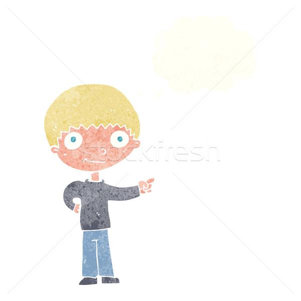 Desenho animado indicação balão de pensamento mão homem Foto stock © lineartestpilot