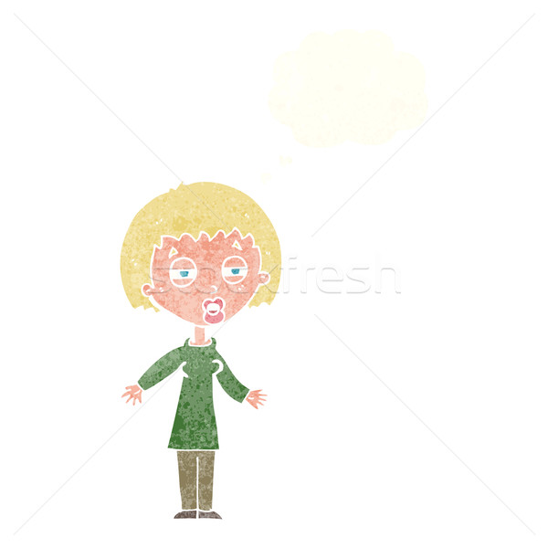 cartoon tired woman with thought bubble Stock photo © lineartestpilot