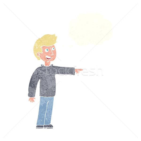 Cartoon felice uomo punta ridere bolla di pensiero Foto d'archivio © lineartestpilot