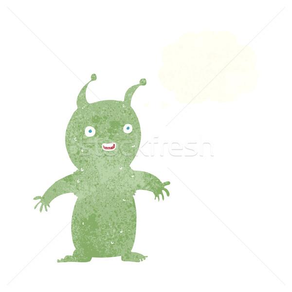 Desenho animado feliz pequeno alienígena balão de pensamento mão Foto stock © lineartestpilot