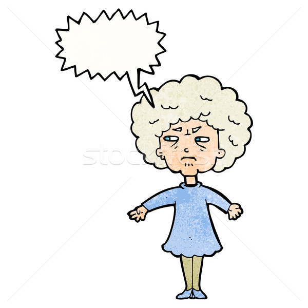 cartoon bitter old woman with speech bubble Stock photo © lineartestpilot