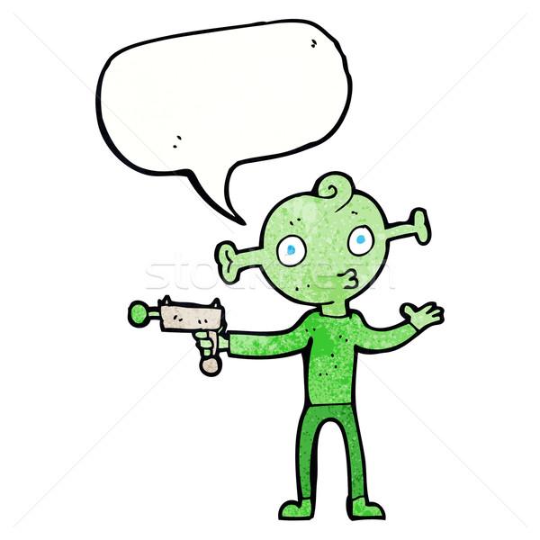 Desenho animado alienígena pistola balão de fala mão projeto Foto stock © lineartestpilot