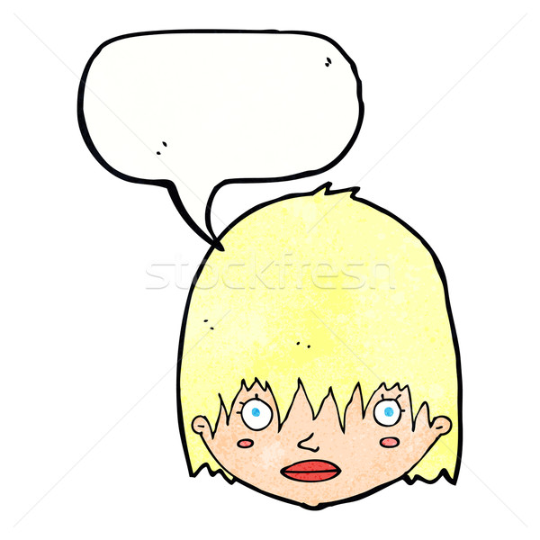 cartoon staring woman with speech bubble Stock photo © lineartestpilot