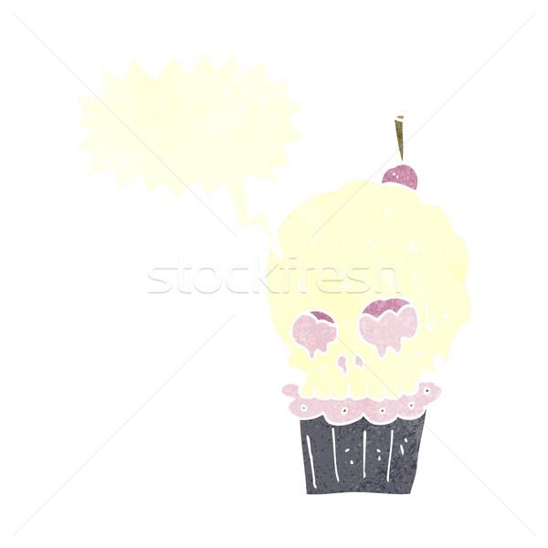 cartoon spooky skull cupcake with speech bubble Stock photo © lineartestpilot