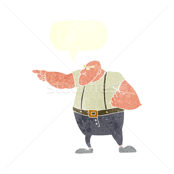 Cartoon boos taai vent wijzend tekstballon Stockfoto © lineartestpilot