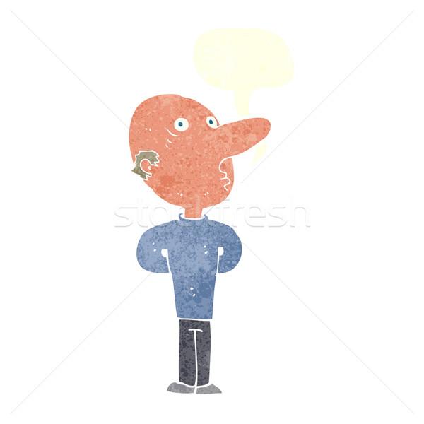 cartoon balding man with speech bubble Stock photo © lineartestpilot