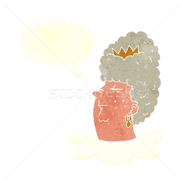 Karikatur Königin Kopf Sprechblase Hand Design Stock foto © lineartestpilot