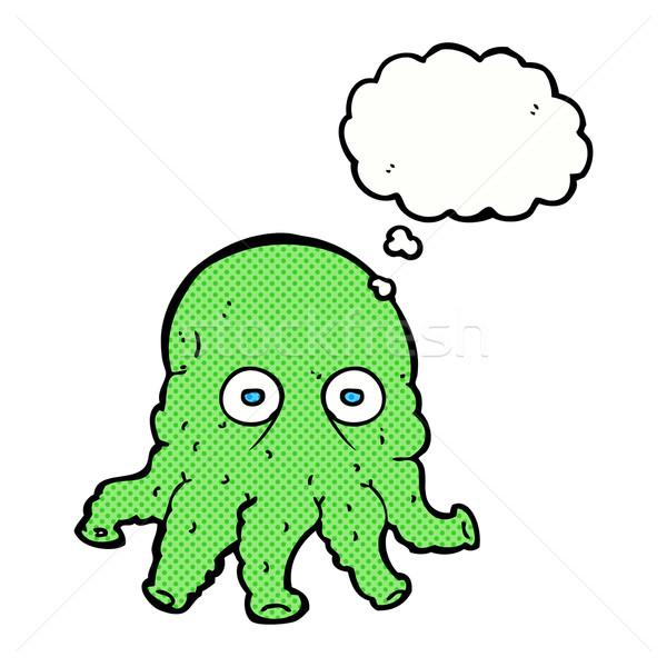 Cartoon straniero calamari faccia bolla di pensiero mano Foto d'archivio © lineartestpilot