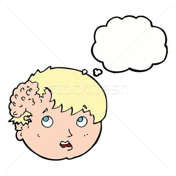 Cartoon jongen lelijk groei hoofd gedachte bel Stockfoto © lineartestpilot