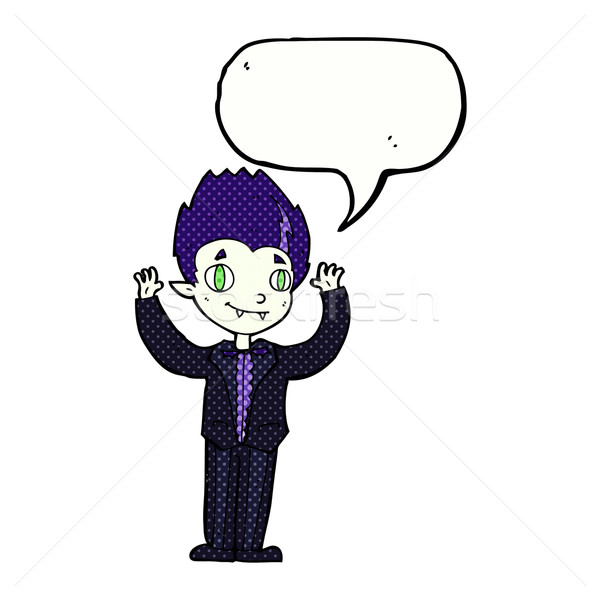 cartoon vampire boy with speech bubble Stock photo © lineartestpilot