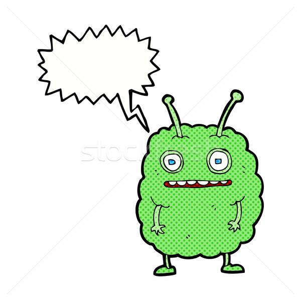 Desenho animado engraçado alienígena monstro balão de fala mão Foto stock © lineartestpilot