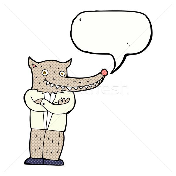 Karikatür kurt adam konuşma balonu el dizayn Stok fotoğraf © lineartestpilot