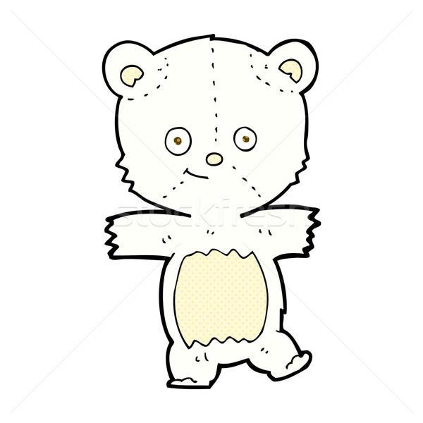 комического Cartoon Cute полярный медведь ретро Сток-фото © lineartestpilot