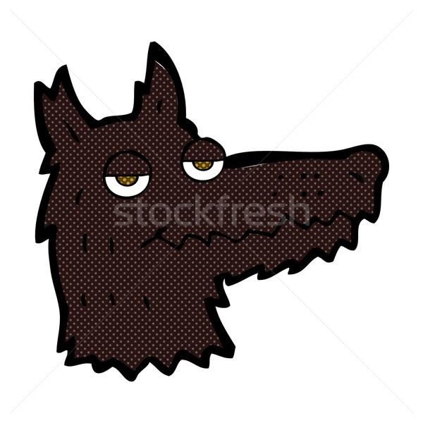 Fumetto cartoon lupo testa retro Foto d'archivio © lineartestpilot