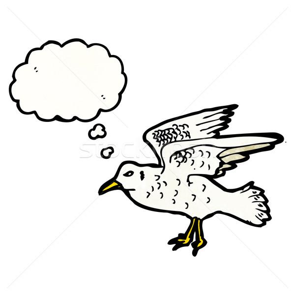 Cartoon zeemeeuw zee vogel praten retro Stockfoto © lineartestpilot