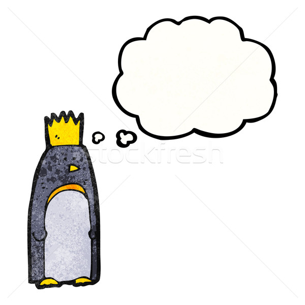 Desenho animado imperador pinguim retro pensando desenho Foto stock © lineartestpilot
