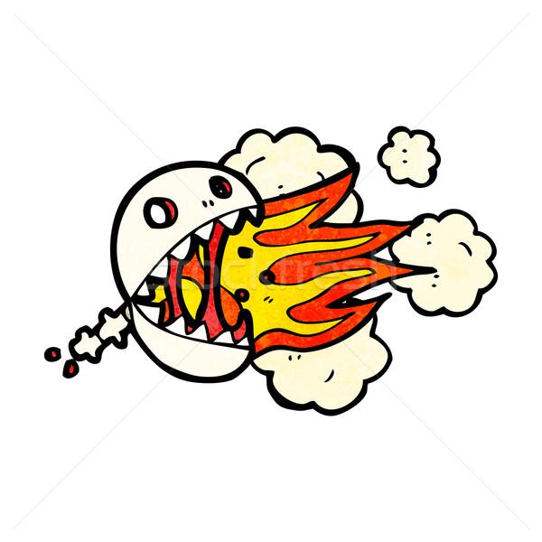 Fogo respiração crânio desenho animado arte retro Foto stock © lineartestpilot